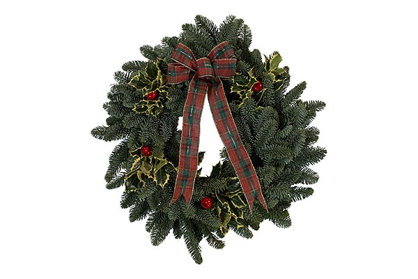 22 in Red Bow Holly Wreath