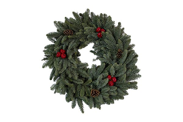 24 in Pinecone Cherry Wreath