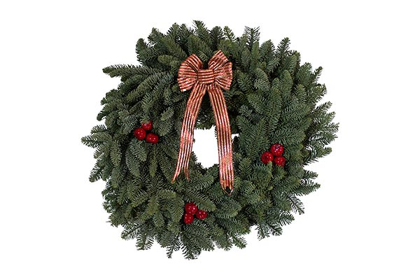 32 in Red Bow Cherry Wreath